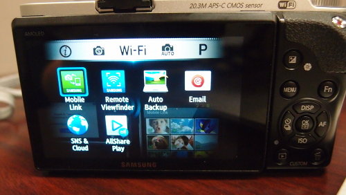 Once you twist the mode dial to Wi-Fi, you can a screen with all Wi-Fi related functions, all on one screen. For one, images can be automatically backed up or stored in the cloud through AllShare Play.