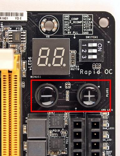 The pair of Rapid OC buttons allows overclockers to change the base frequency, CPU voltage or its CPU ratio accordingly. The buttons are only useful if the board has not been mounted inside the chassis of a PC. Else, they would be hard to reach and use.