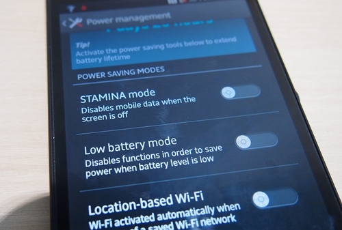 Sony claims that the Battery Stamina Mode can improve the standby time by at least four times on the Xperia Z.