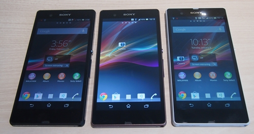 The Sony Xperia Z will come in three colors: black, purple and white (from left to right).