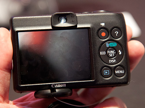 Back view of the PowerShot A1400. This camera comes with an optical viewfinder.