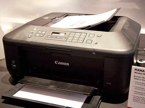 The more affordable Canon PIXMA MX452 Wireless Office AIO printer which comes with a lot of functions and features similar to those found in premium models.