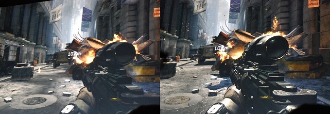 Here's a sample of Call of Duty: Modern Warfare 3 in action. On the left is a screenshot of what one would get out of the box. On the right is what you get after GFE has done its quick 'magic'.