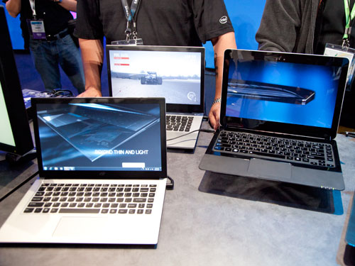Ultrabook prototypes that are running on Ivy Bridge Ultra-Low-Voltage processors, at IDF 2011.