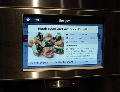 As can be seen from the options on the smart fridge, you can opt to send the recipe over to the LG Range (oven) and to help you prepare this dish. No more remembering of what modes to use or setting the cooking time required incorrectly.