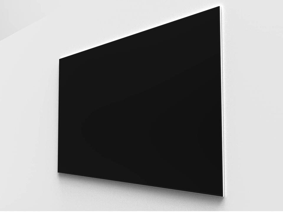 The accompanying 100-inch screen is simple, neat and neutral in design.