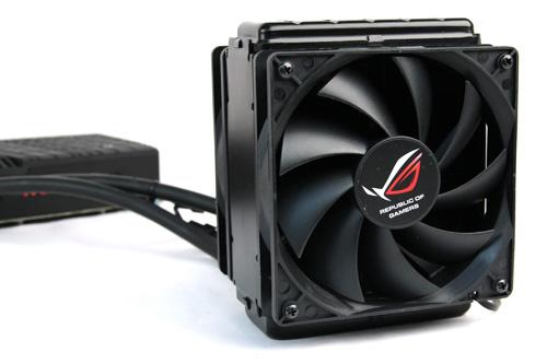 With both 120mm fans attached, the radiator portion of the liquid cooling system is expectedly a bit bulky - furthermore, the tubing is just 300mm in length, so you will need to mount it close to the card.