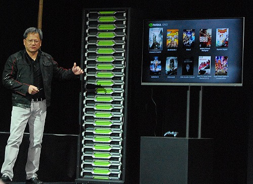Seen here is the actual size of the NVIDIA Grid Gaming System tower rack next to CEO Jen-Hsun Huang.