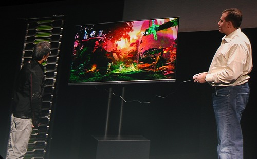 To show proof of concept, NVIDIA demonstrated the GRID platform streaming games to a LG 55LA6900 smart TV at full HD resolution with nothing but the TV loaded with a NVIDIA GRID receiver client and Ethernet connection to stream games via the local router from the internet.