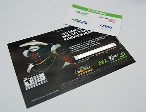Any purchase of a notebook at NVIDIA Day came with a free Pandaren Monk Pet for your World of Warcraft character.