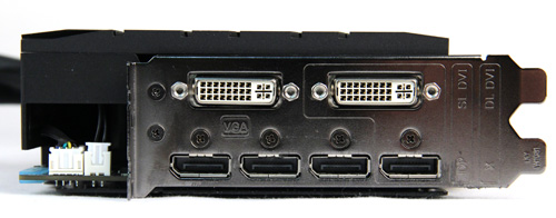 The ARES II boasts two DVI ports and four DisplayPort ports, making it ideal for six-monitor Eyefinity setups. A DVI to HDMI adapter is also included with the card.
