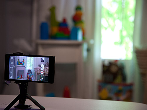 The Sony Xperia Z with HDR Video enabled. You can see that dark areas appear brighter in the video while objects outside the window can be clearly seen (when it would normally be overexposed without HDR).